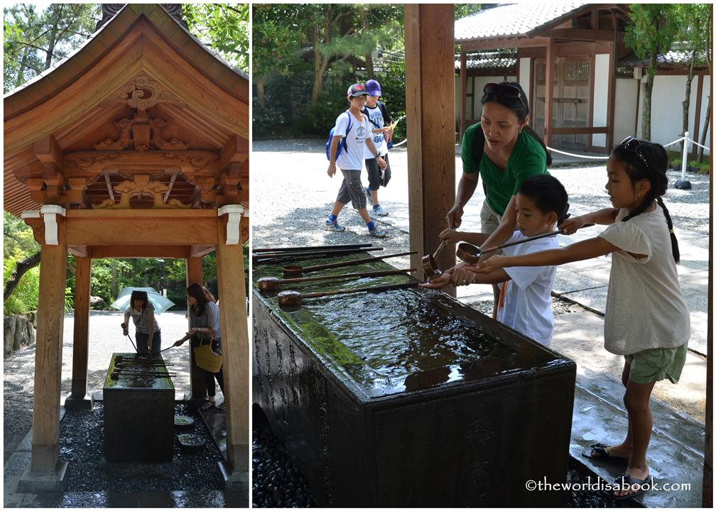 Washing hands at temple