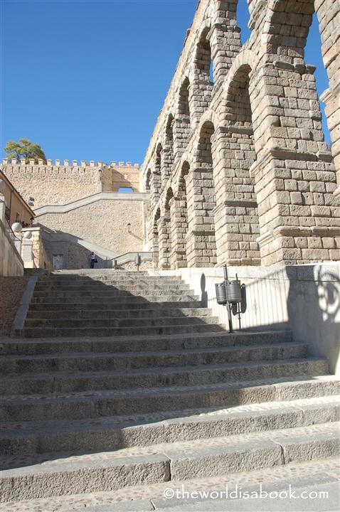 Segovia Roman aqueduct stairs