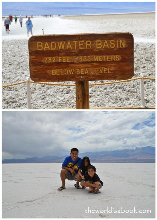 Badwater Basin Salt flats sign