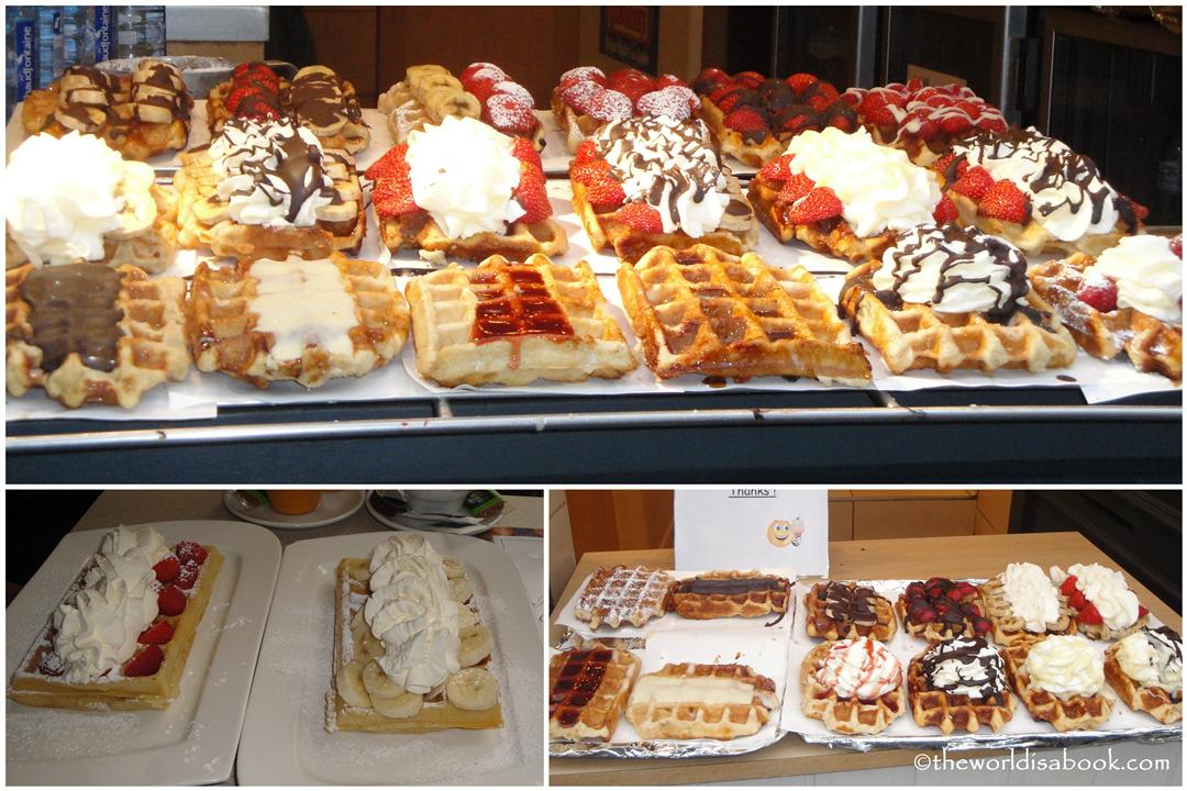 Belgian waffles for breakfast in Brussels
