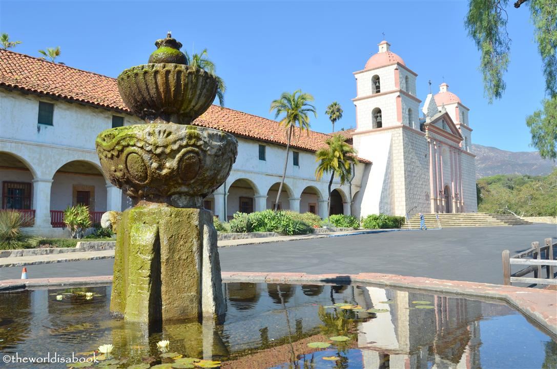 mission santa barbara fountain and church