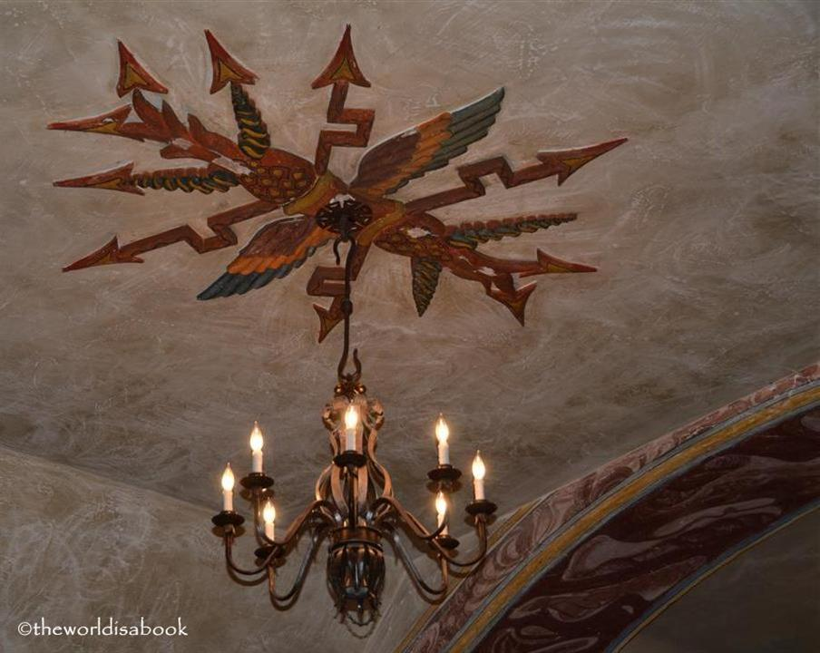 Mission Santa Barbara church chandelier and ceiling art