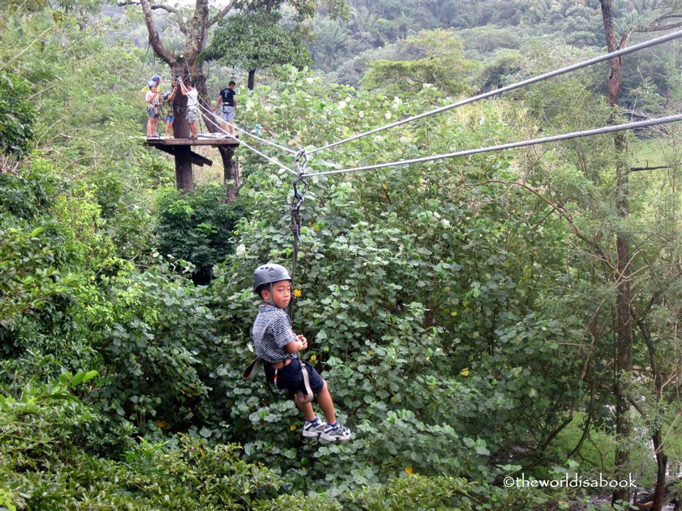 Roatan Zip line with kids