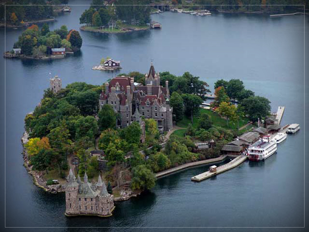 Boldt Castle on Heart Island aerial view
