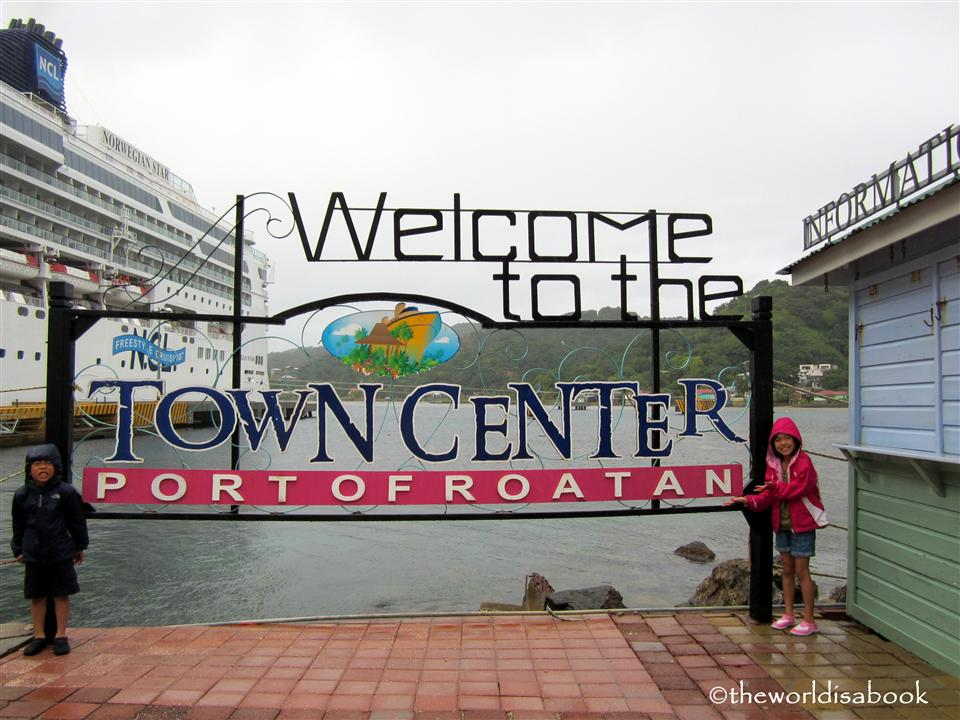 Roatan Honduras port sign