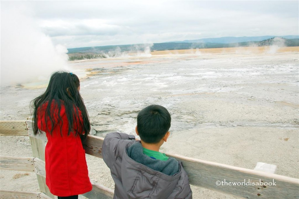 yellowstone geyser trail with kids image