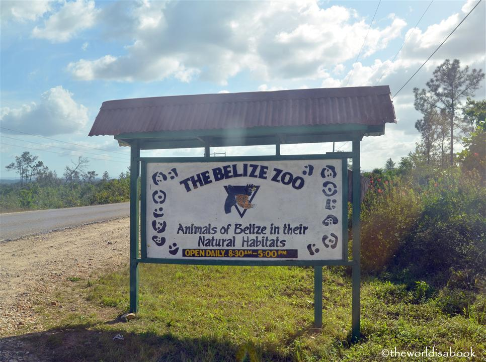 Belize zoo sign and road image