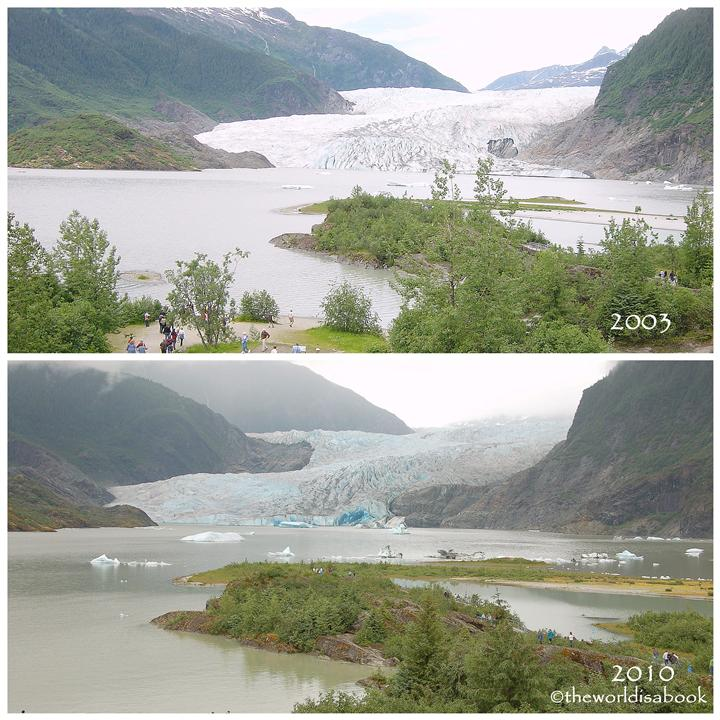 Mendenhall glacier comparison in years