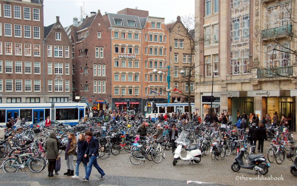 Bikes at Dam Square Amsterdam