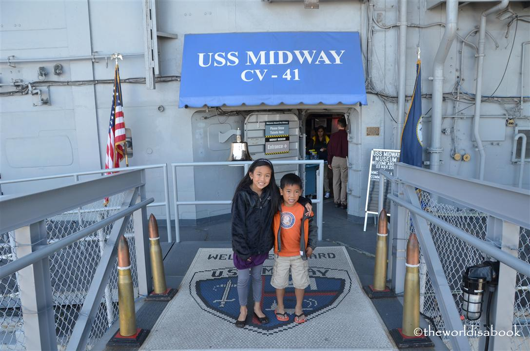 USS Midway with kids entrance image