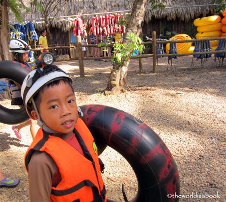 Belize cave tubing with kids