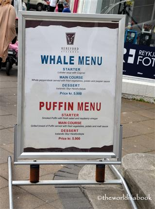 Reykjavik whale and puffin menu image