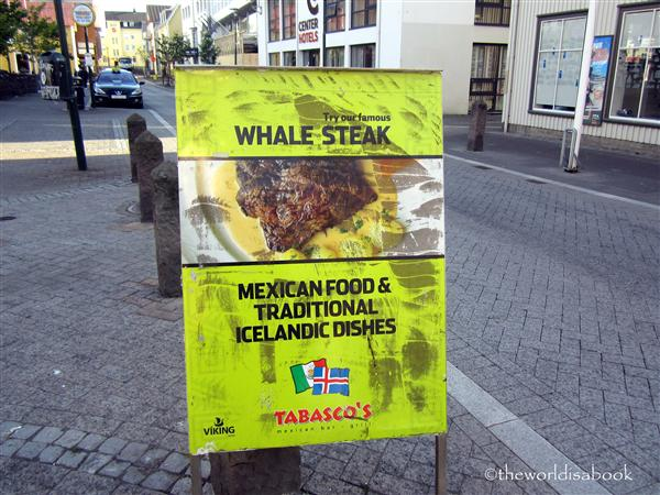 Iceland whale steak sign