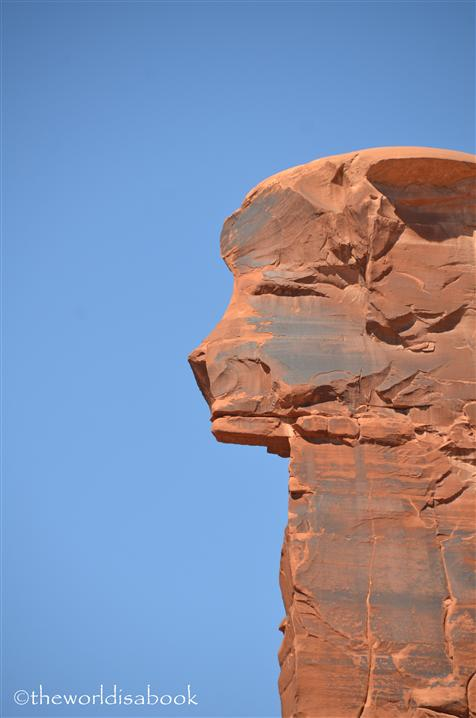 Arches National park lion face in sheep rock