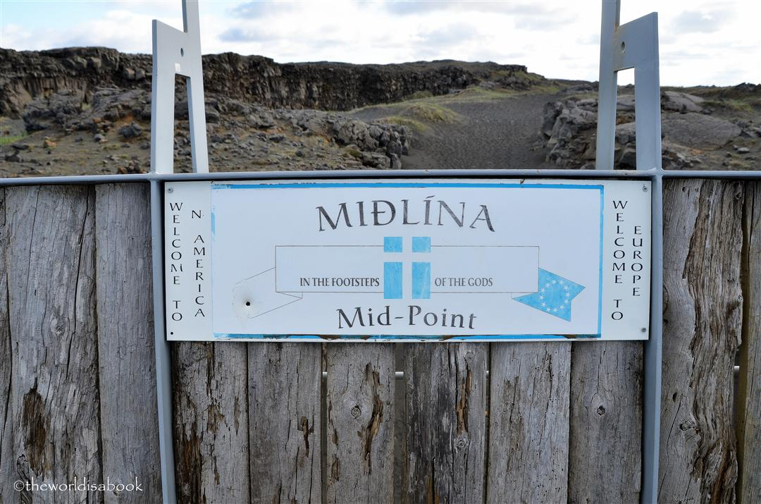 Iceland Leif the lucky bridge or Midlina sign