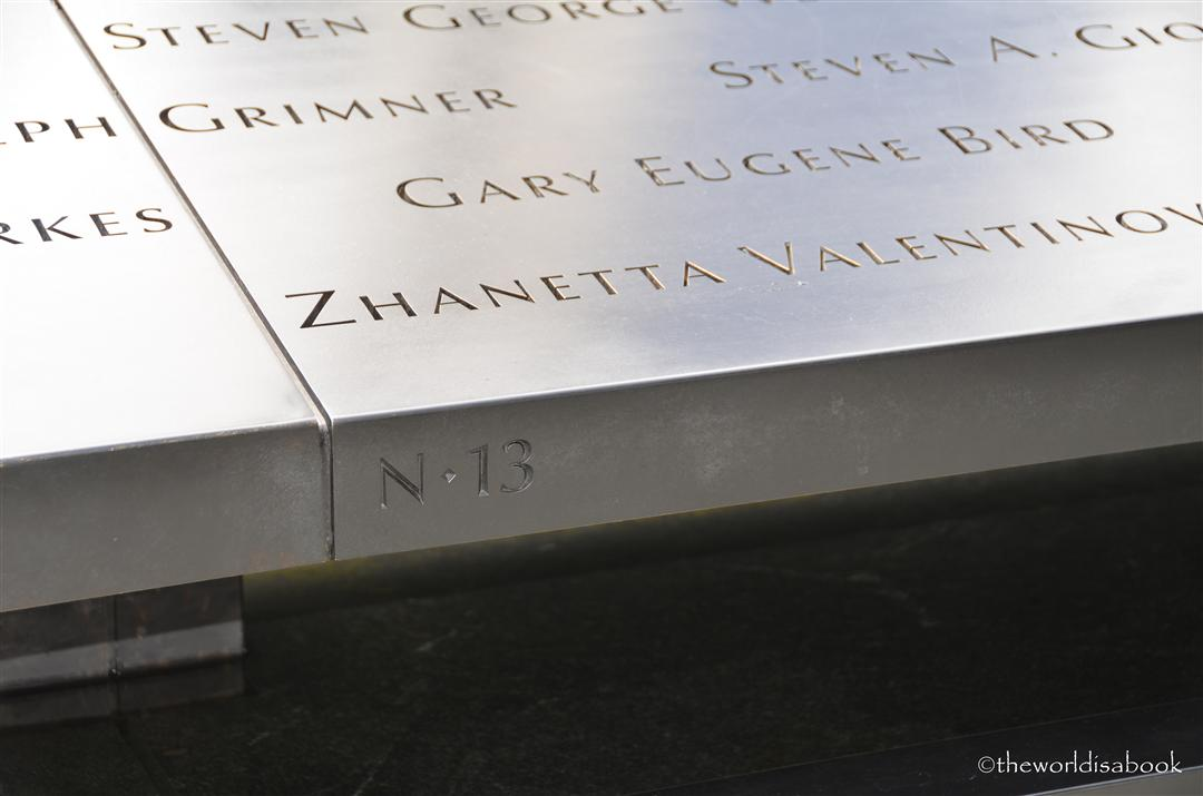 9/11 Memorial Location marker