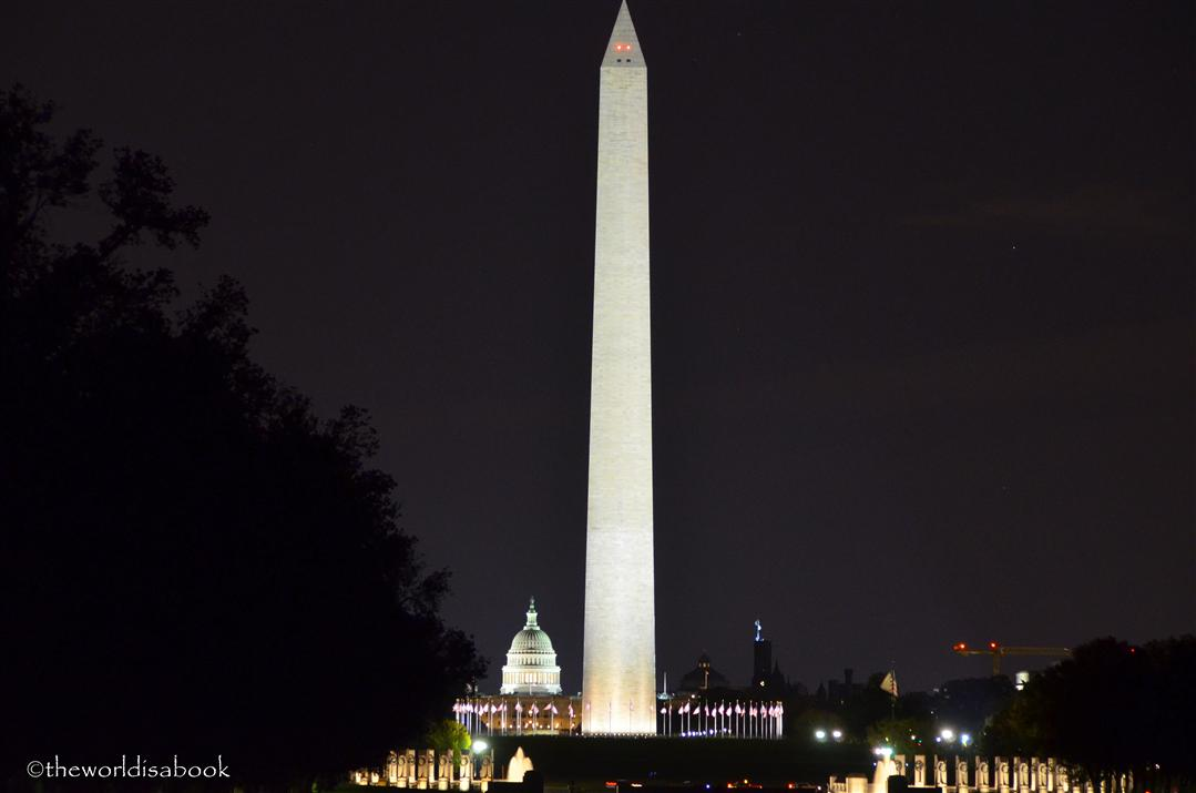 Washington Monument and capitol night