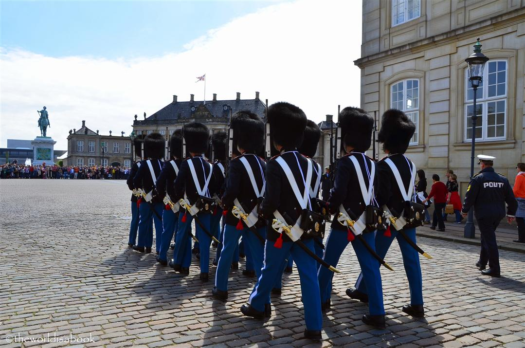 Danish Royal life Guard march at Amalienborg Palace