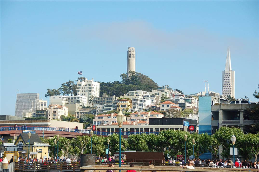 San Francisco view of Coit tower and Transamerica