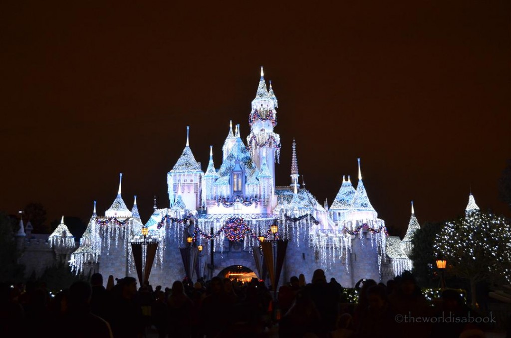 Disneyland Sleeping Beauty Castle Christmas at night