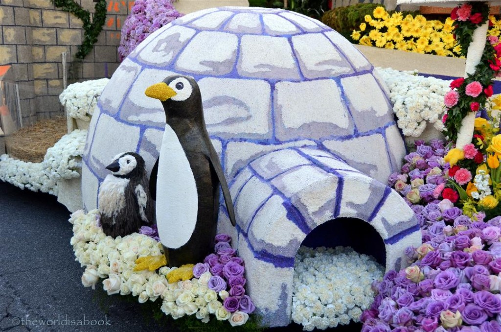 Rose Parade Float 2013 HGTV penguins and igloo