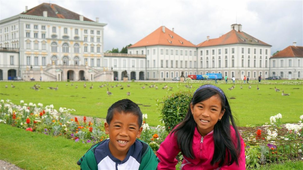 Nymphenburg Palace with kids front