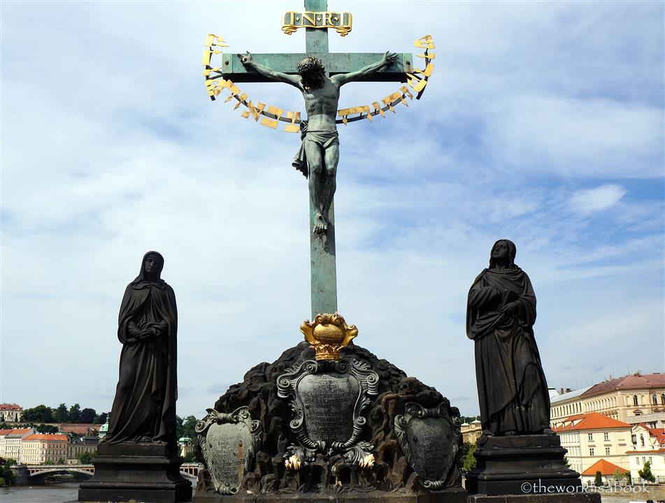 Charles Bridge crucifixion statue