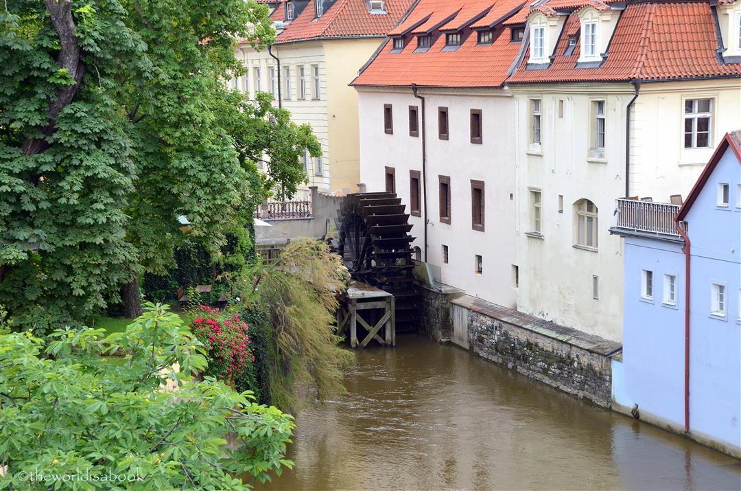 Charles Bridge water wheel Prague