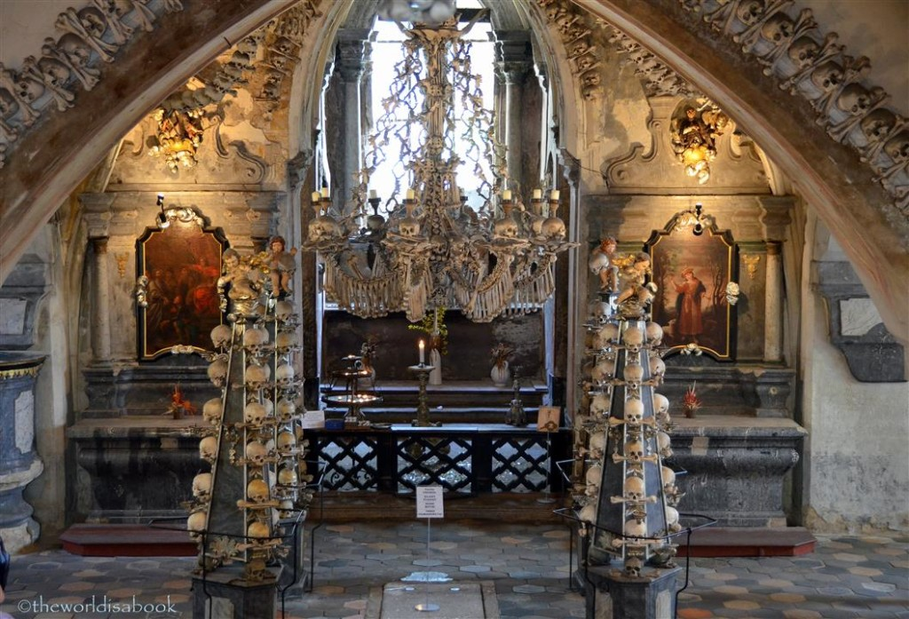 Sedlec ossuary Bone church chandelier
