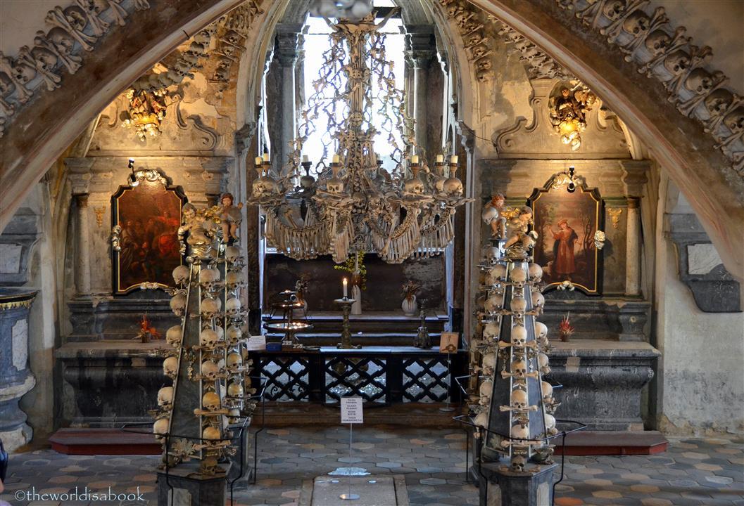 Sedlec ossuary Bone church chandelier