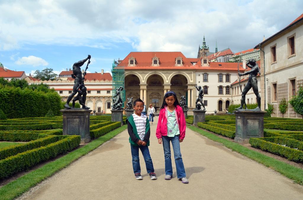 Wallenstein palace garden with kids