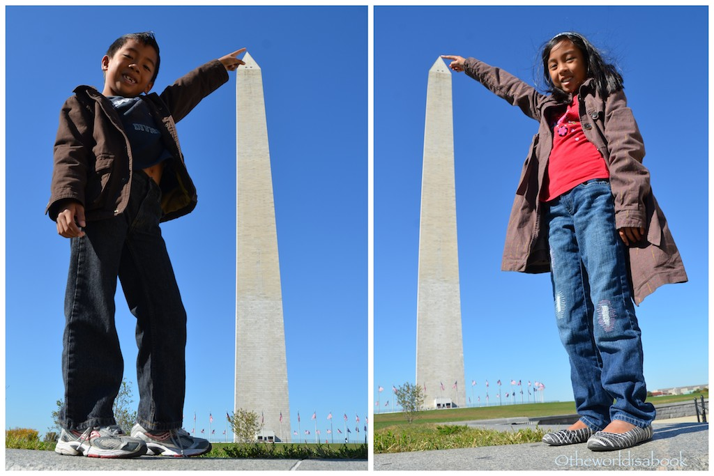 Washington Monument with kids