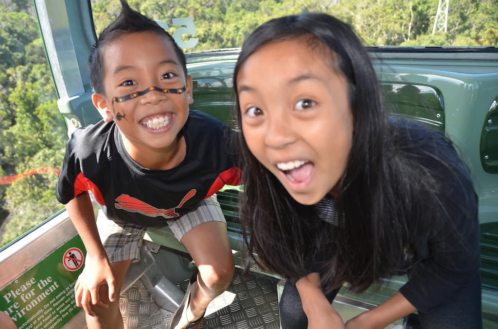 Skyrail Rainfrest Cableway with kids