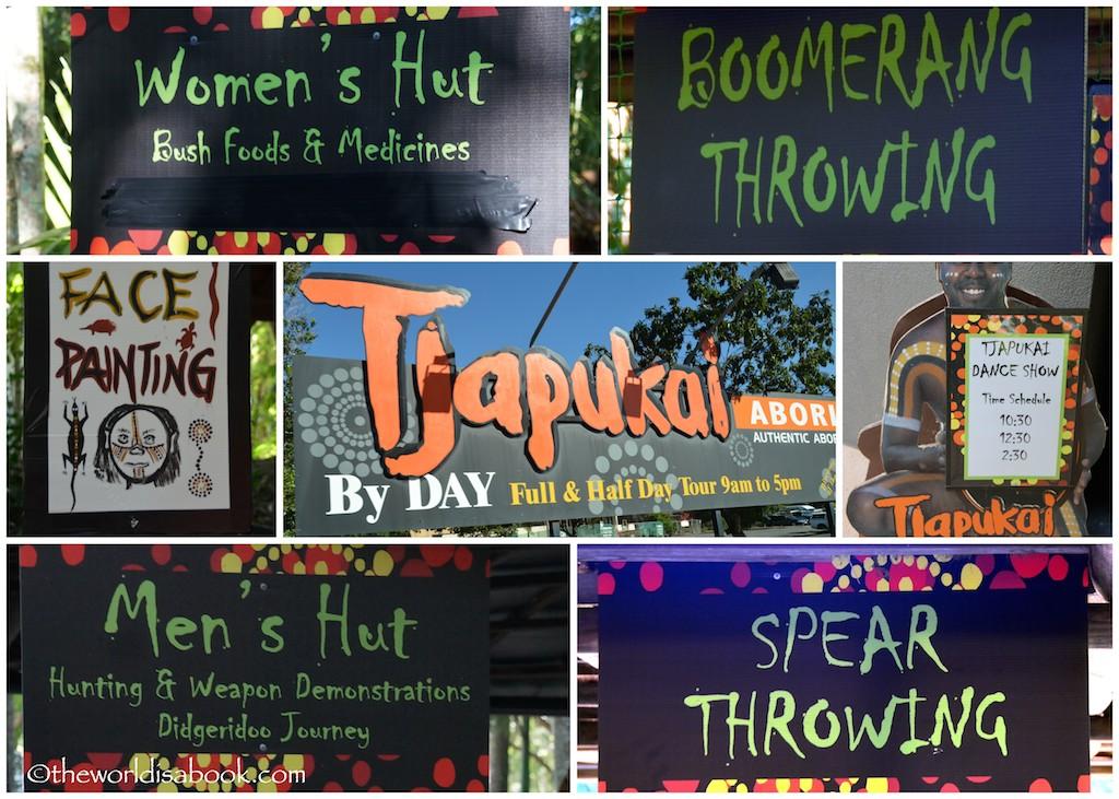 Tjapukai Aboriginal Cultural Park signs
