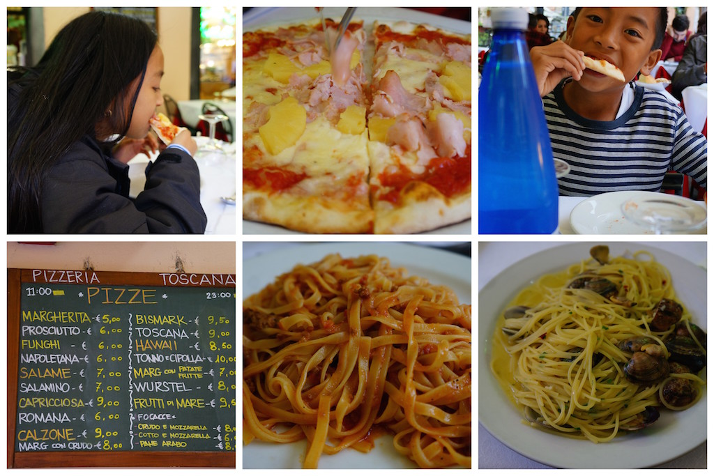 Eating in Pisa with kids