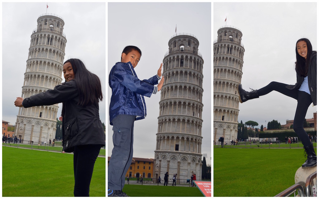 Leaning tower of Pisa with kids