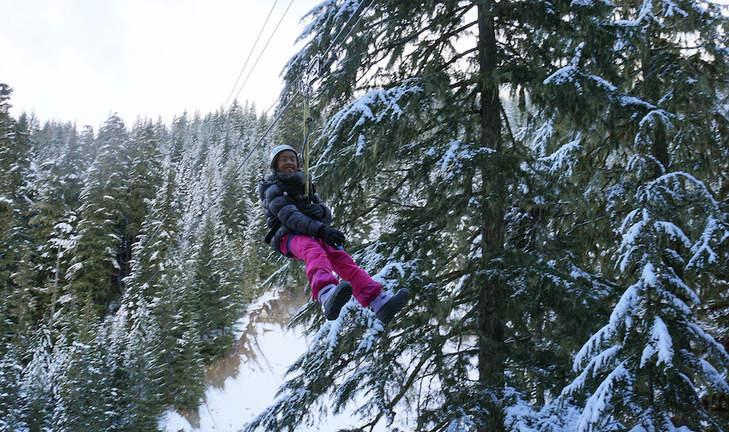 Whistler with kids ziplining