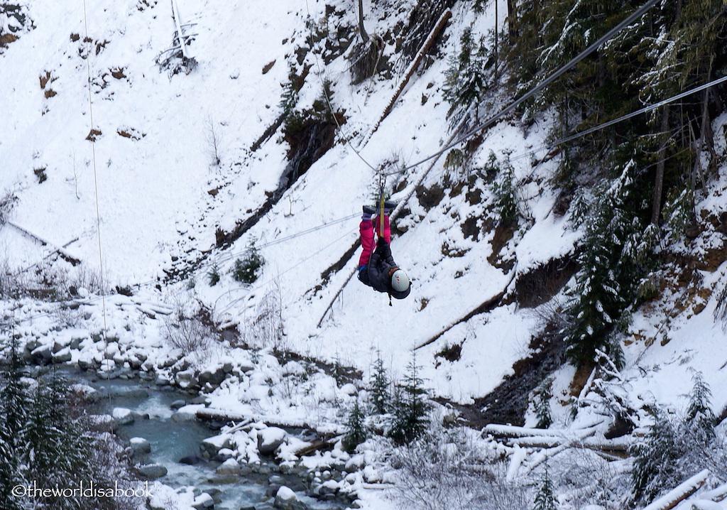 Whistler ziplining with kids upside down
