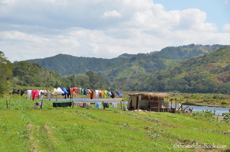 Fiji Village visit clothesline
