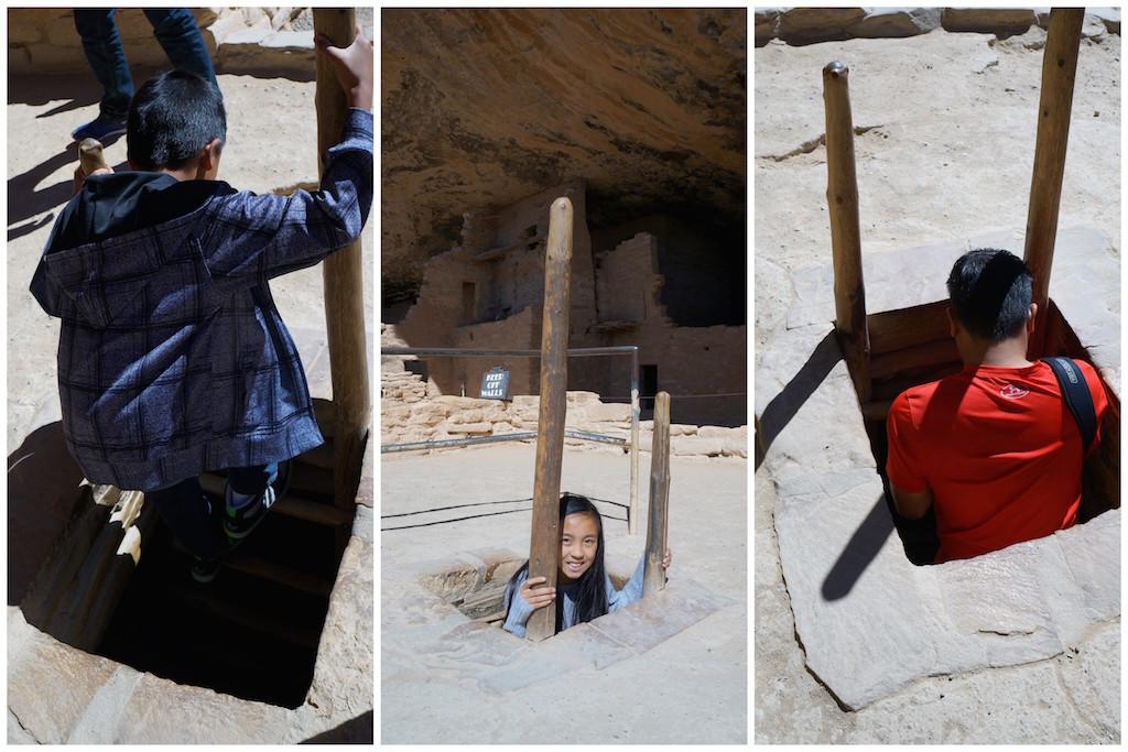 Mesa Verde with Kids climbing down
