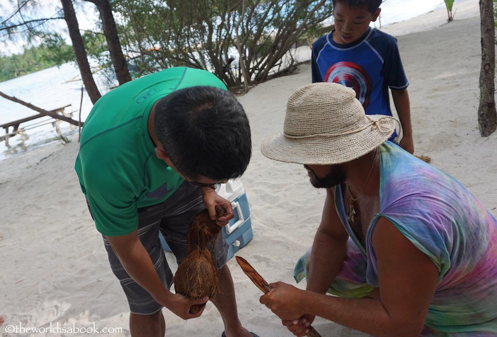 Bora Bora coconut husking