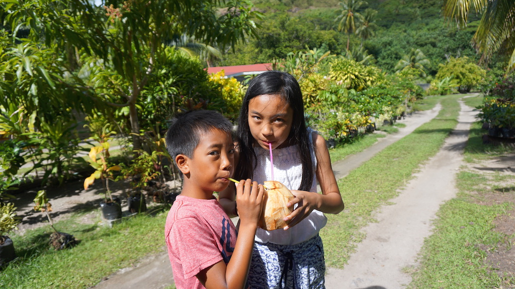 Bora Bora with kids coconut