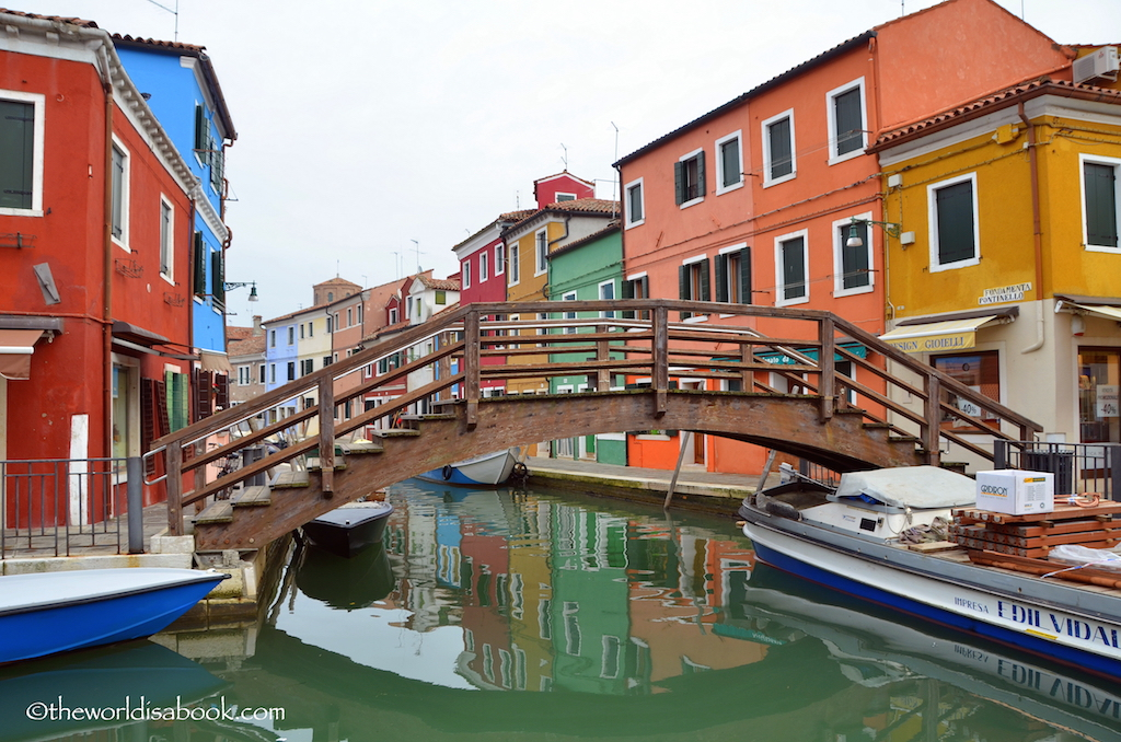 Burano colored houses bridge