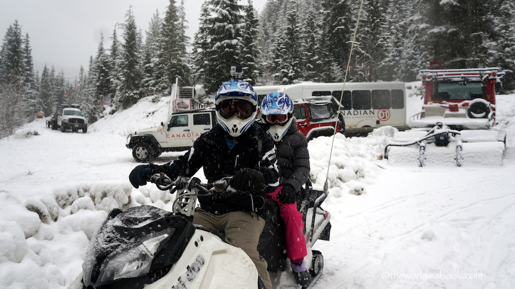 Whistler snowmobile with kids