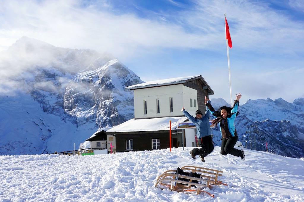 Jumping in Furenalp Switzerland