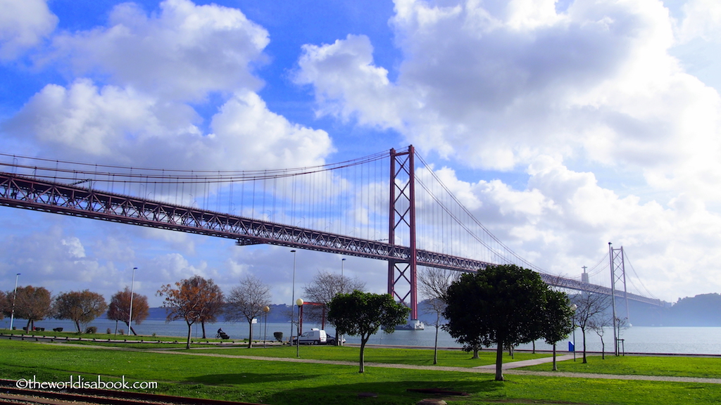 Lisbon 25th of April Bridge or Ponte 25 de Abril suspension bridge