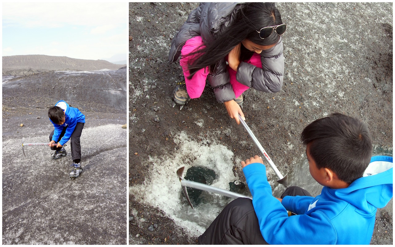 Ice Axes Glacier Hiking with kids