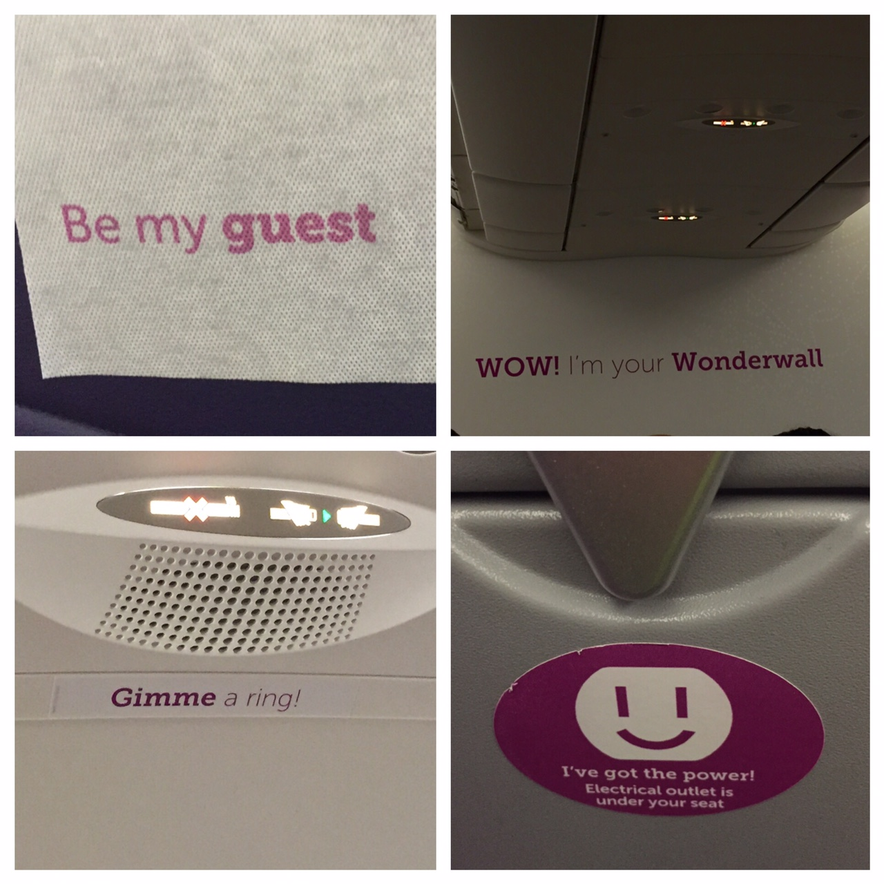 WOW Air Interior sayings