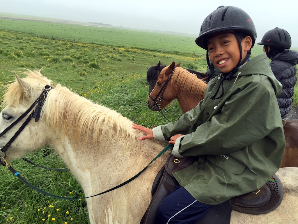 Horseback riding in Iceland with kids