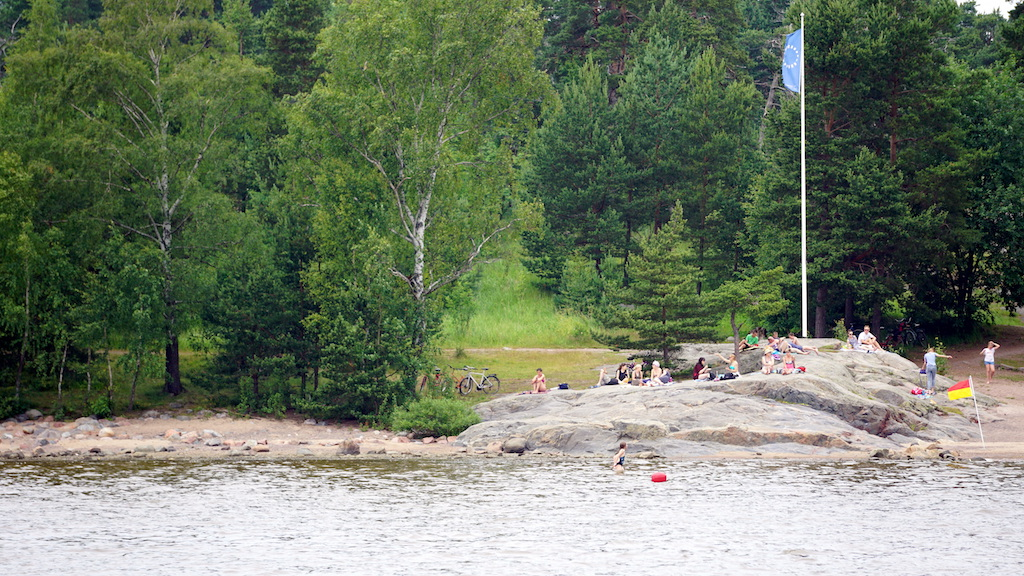 Helsinki sightseeing cruise sunbathers